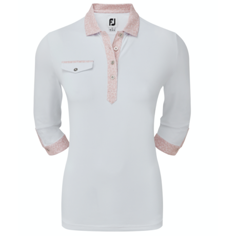 FOOTJOY 3/4 SLEEVE PIQUE WITH PRINTED TRIM WHITE WITH BLUSH PINK
