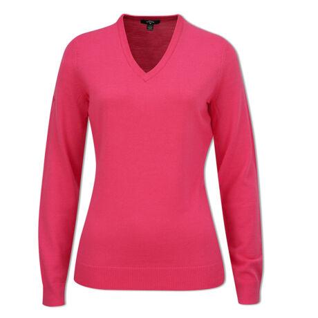Callaway Ladies Raspberry Sorbet V-Neck Merino Sweater