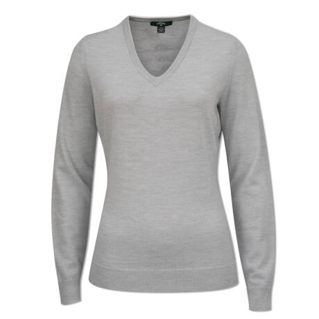 Callaway Ladies Pearl Blue Heather V-Neck Merino Sweater