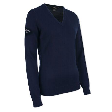 Callaway Ladies V-Neck Merino Sweater Dark Navy